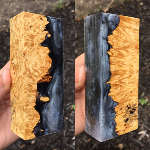 Maple Burl w/ Black Silver Resin Blank