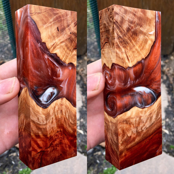 Australian Red Mallee Burl w/ Copper Swirl Resin Blank