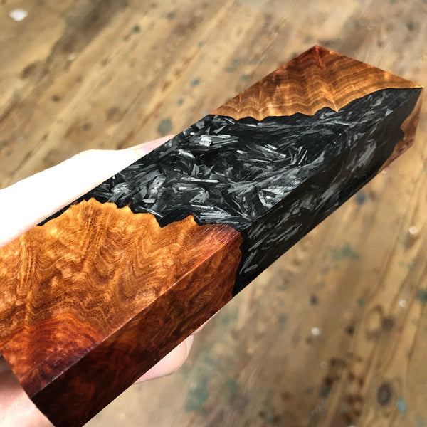 "Red Mallee Burl Shredded Carbon Fiber Blank 5 3/4""L x 1 13/16""W x 15/16"" thick"