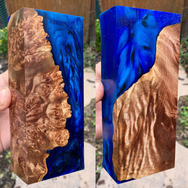 Maple Burl w/ Dark Blue/Turquoise Resin Blank