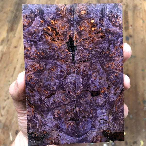 "Dyed Maple Burl Knife Scales (Bark Pockets) 5""L x 1 3/4""W x .25"" thick"