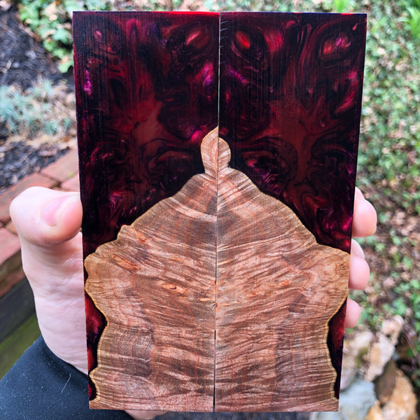 Black Maple Burl w/ Red and Purple Resin Knife Scales