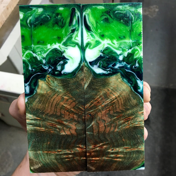 Green and Black Dyed Maple Burl w/ Green Apple Swirl Resin Knife Scales