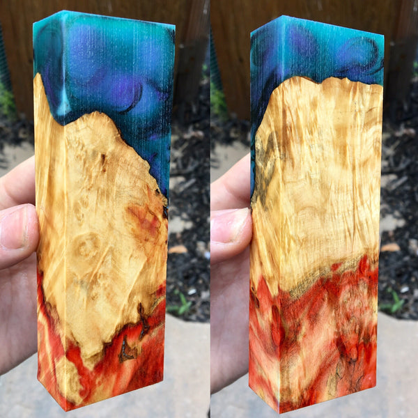 Flame Box Elder w/ Purple/Green and Black Resin Hybrid Blank