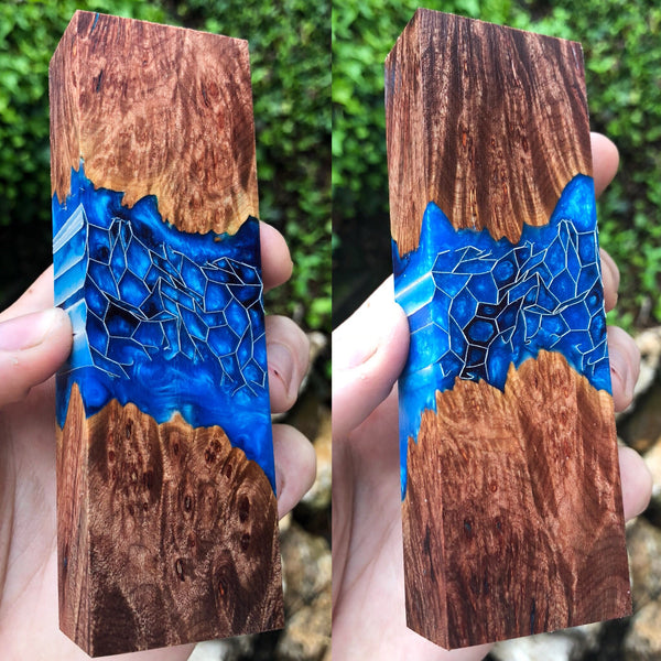 Maple Burl w/ Blue Honeycomb Resin Blank