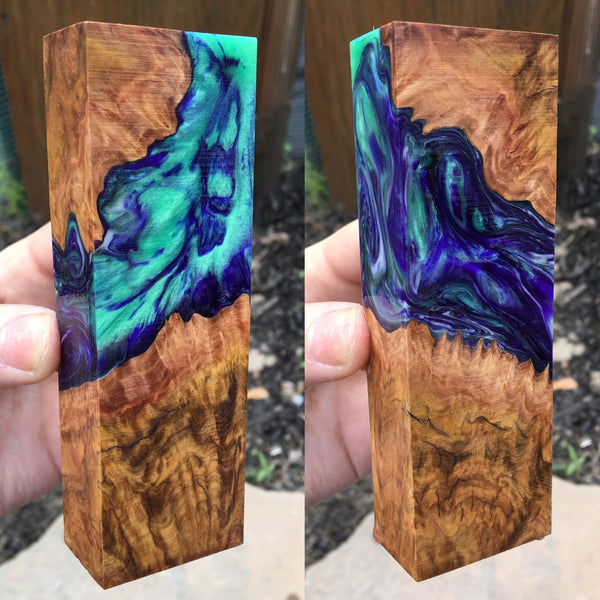 Corrugata Burl with Purple and Emerald Swirl Resin Blank