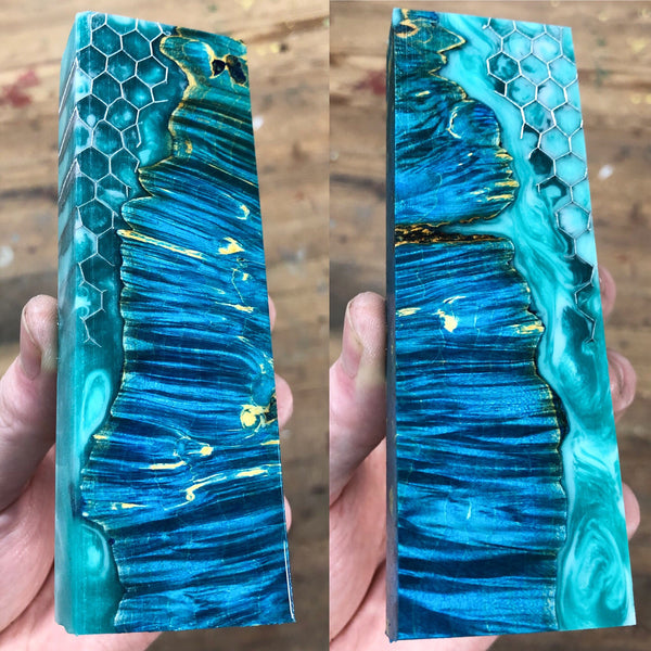 Blue dyed Box Elder Burl Honeycomb Hybrid Blank