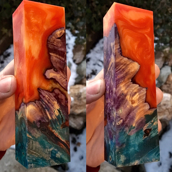 Blue/Purple dyed Buckeye Burl w/ Red Orange Resin Blank