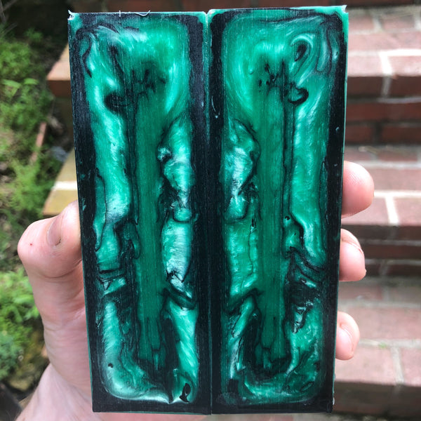 Green/Blue and Back Resin Knife Scales