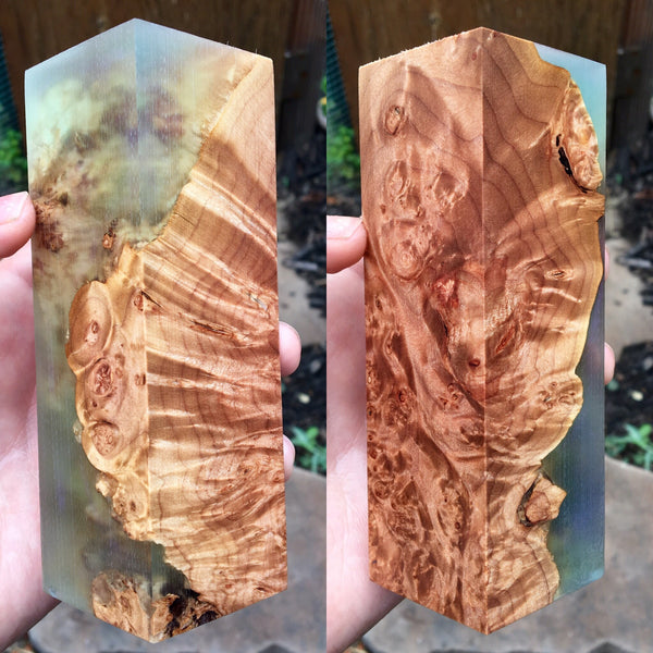 Maple Burl w/ Clear Green/Purple Resin Blank