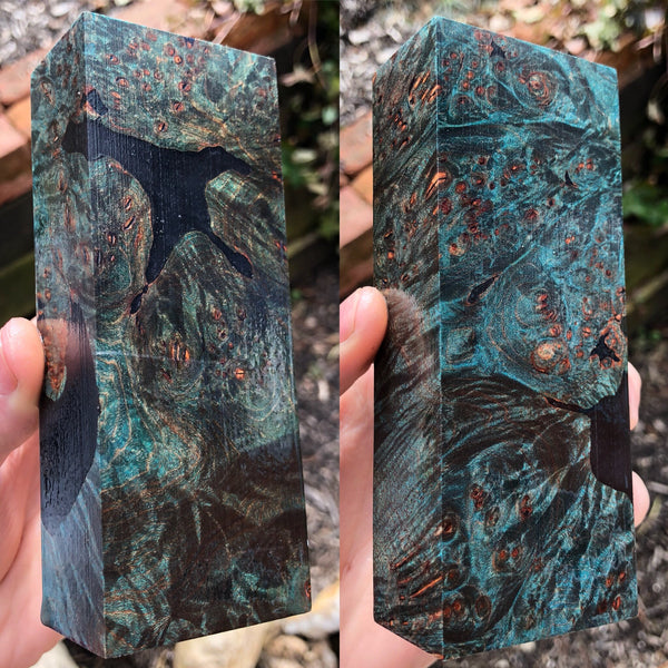 Blue Dyed Maple Burl w/ Black Resin Voids Blank