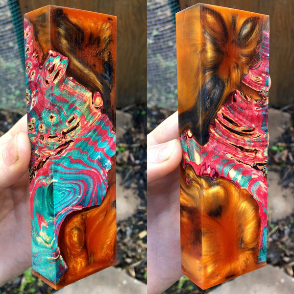 Multi Dyed Buckeye Burl w/ Gold/Orange and Black Resin Blank