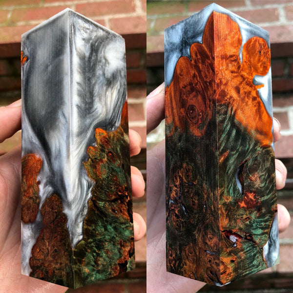 Green and Orange Dyed Maple Burl w/ Silver Resin Hybrid Blank