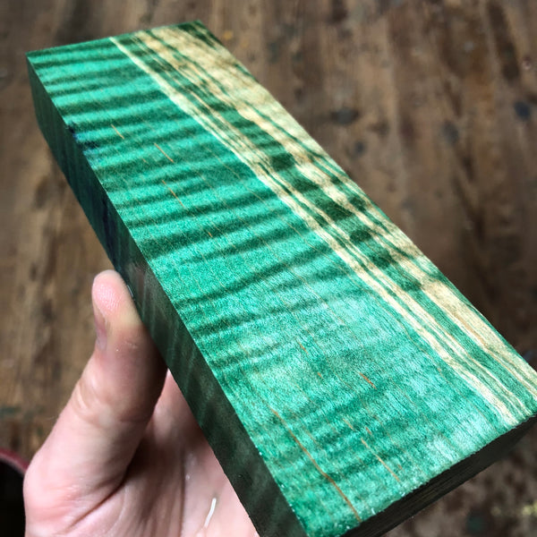 "Dyed Curly Maple Blank 5 11/16""L x 2 1/8""W x 15/16"" thick"