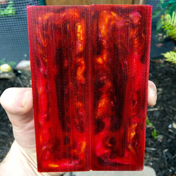 Vibrant Red/Orange Resin Knife Scales