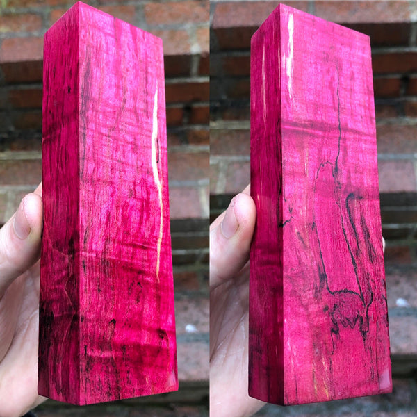 Red dyed Curly Spalted Maple Blank
