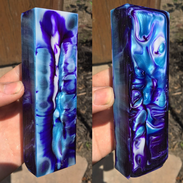 Blue/Purple and White Swirl Resin Blank