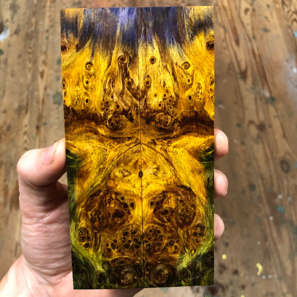 "Dyed Spalted Maple Burl Knife Scales 5 15/16""L x 1 9/16""W x .25"" thick"