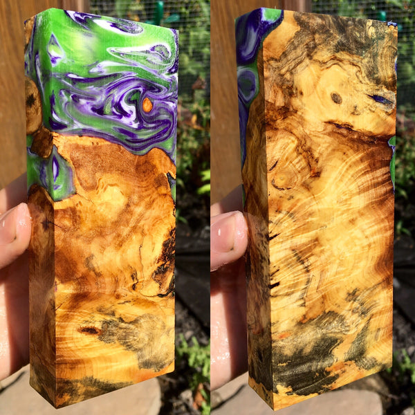 Buckeye Burl with Green/Purple Swirl Resin Blank