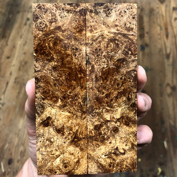 "Spalted Maple Burl Knife Scales 5 3/16""L x 1.5""W x .43"" thick"