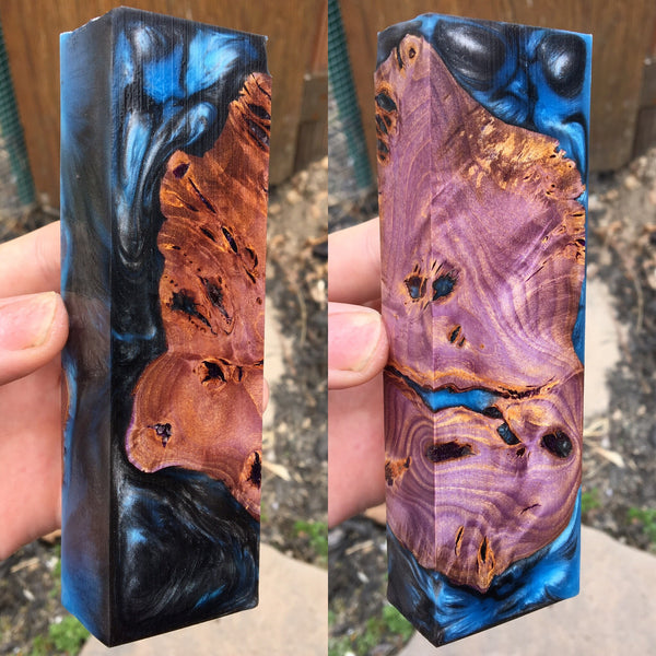 Purple Dyed Buckeye Burl w/ Turquoise Metal Resin Blank