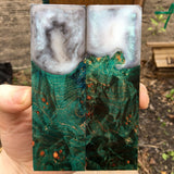 Blue Green Dyed Maple Burl Hybrid Knife Scales
