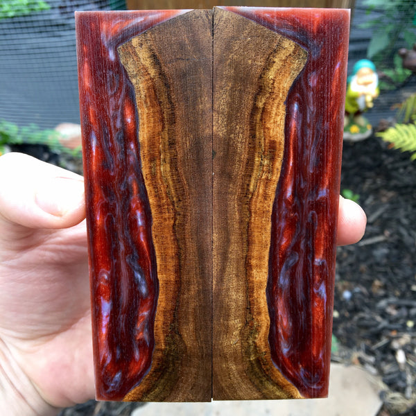 Desert Ironwood w/ Copper Resin/Blue Pearl Resin Knife Scales