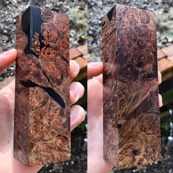Black Dyed Maple Burl w/ Black Resin filled Voids Blank