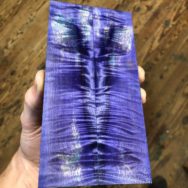 "Dyed Curly Cottonwood Knife Scales 6 1/4""L x 1 9/16""W x .30"" thick"