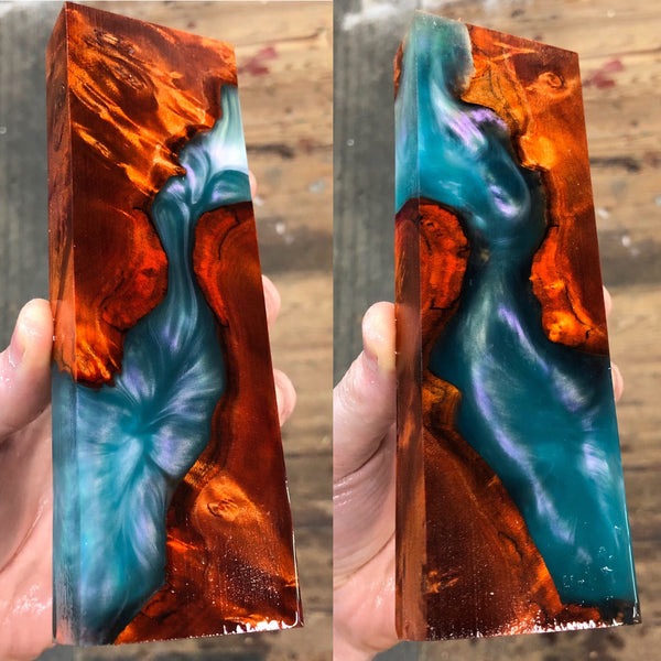 Orange dyed Maple Burl Semi Translucent Hybrid Blank