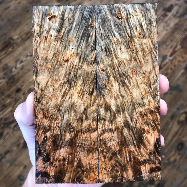 Dyed Spalted Maple Burl Knife Scales