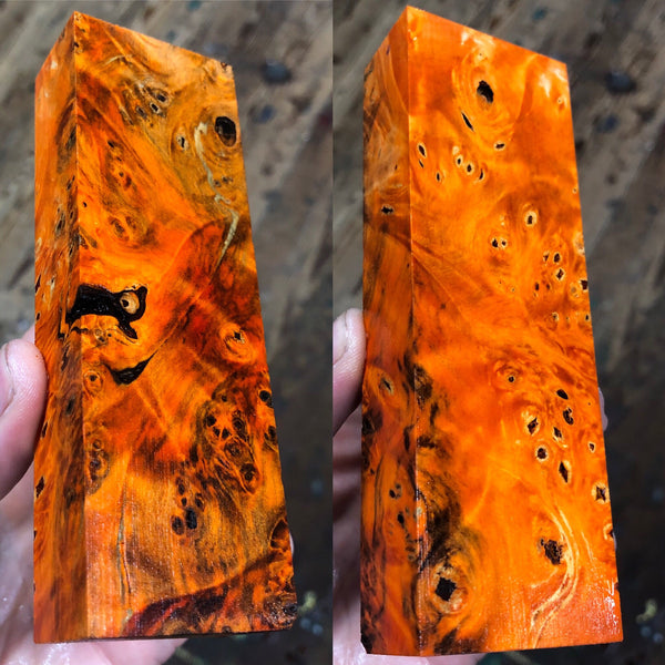Orange dyed Buckeye Burl Blank