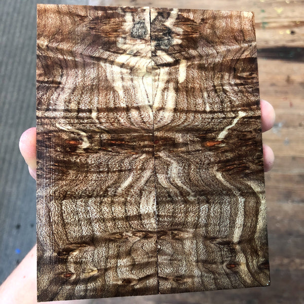 Curly Spalted Maple Burl Knife Scales