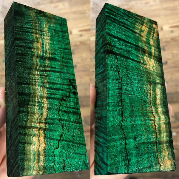 Emerald Green Curly Spalted Maple Burl Blank