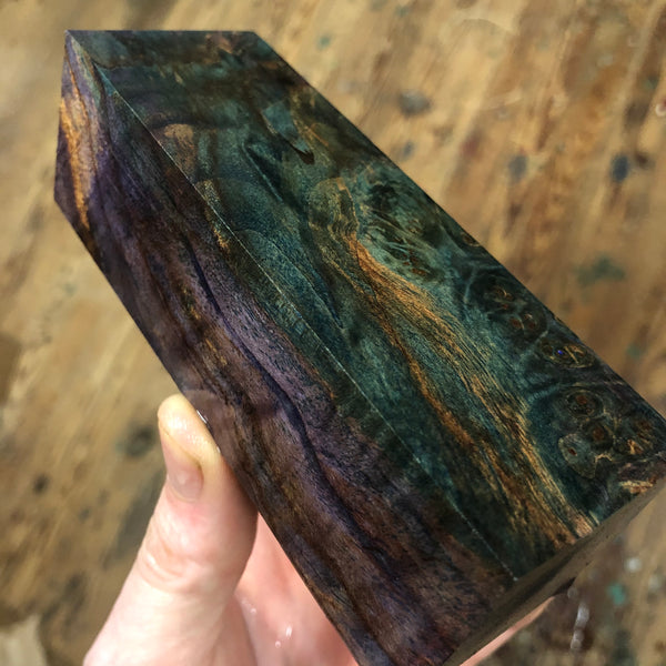"Dyed Maple Burl Blank 4 15/16""L x 1 11/16"" x 1 1/2"""