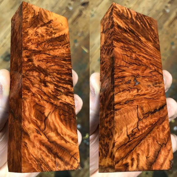 "Red Morrell Burl Blank 4 7/8""L x 1 11/16""W x 15/16"" thick"