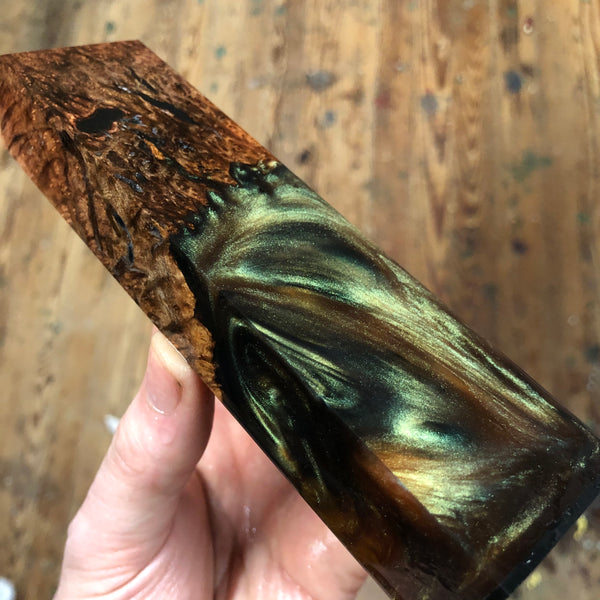 "Redwood Burl Chameleon Resin Blank 6 1/8""L x 1 9/16""W x 1"" thick"