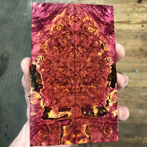 Dyed Box Elder Burl Knife Scales