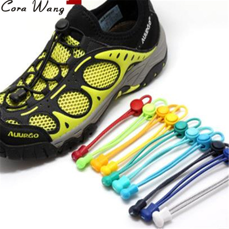 CORA WANG 100CM 1 pair fashion No Tie Locking Shoelaces sneaker elastic