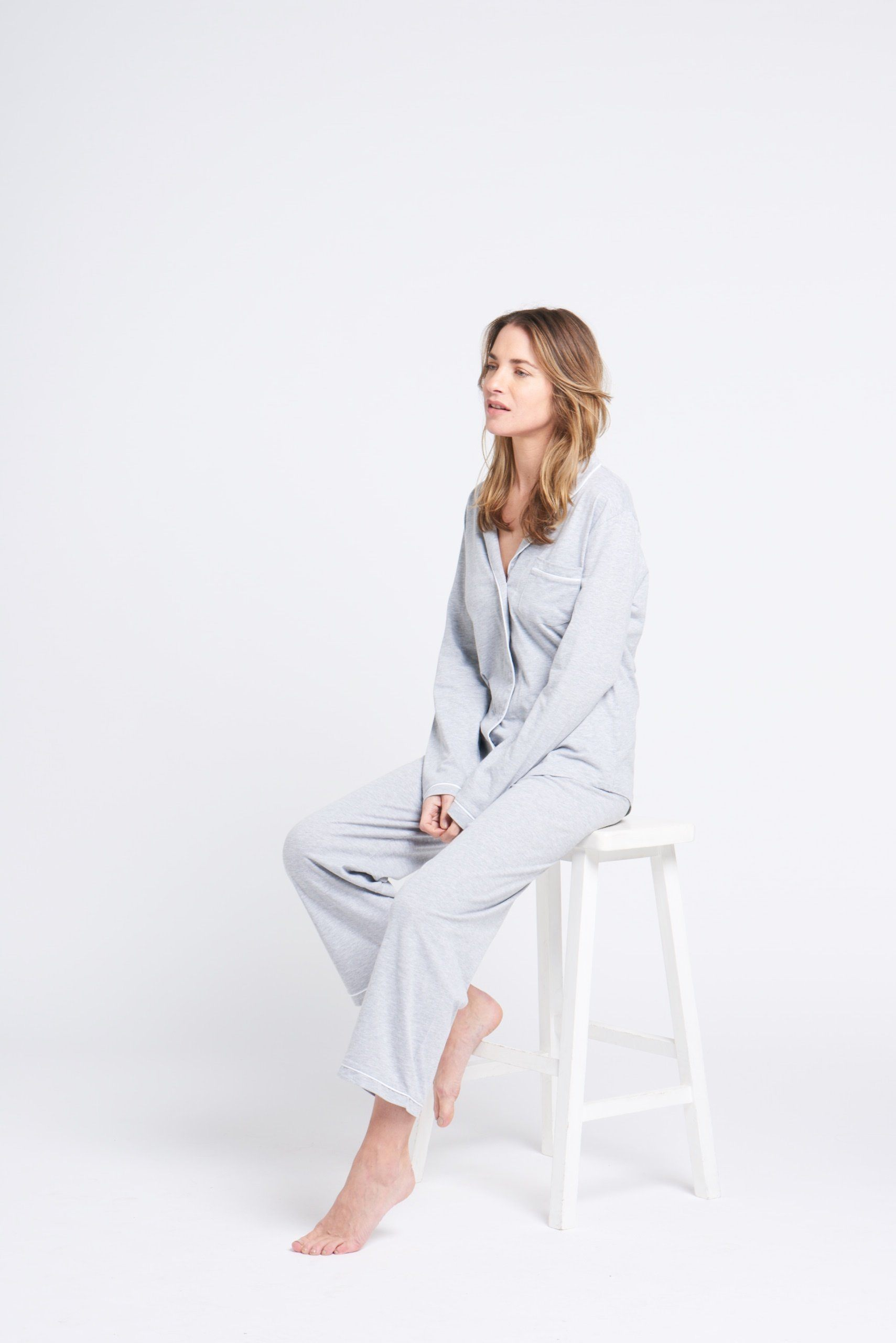 Portsea PJ Set long Grey pj's Organic Crew