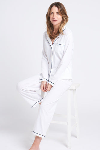 Portsea PJ Set Long White