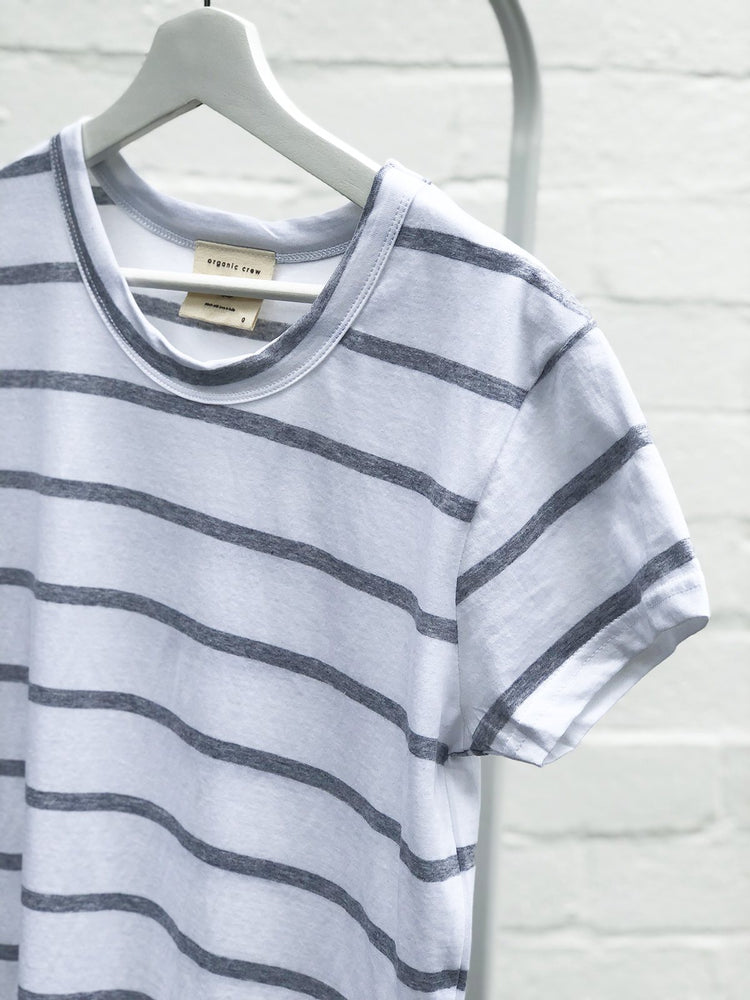 Load image into Gallery viewer, Super Relaxed Tee Grey / White Stripe Tee Shirt Organic Crew
