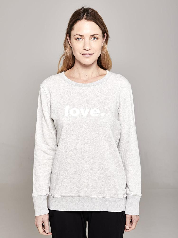 Load image into Gallery viewer, Boyfriend Sweater Grey Love Sweater Organic Crew 0