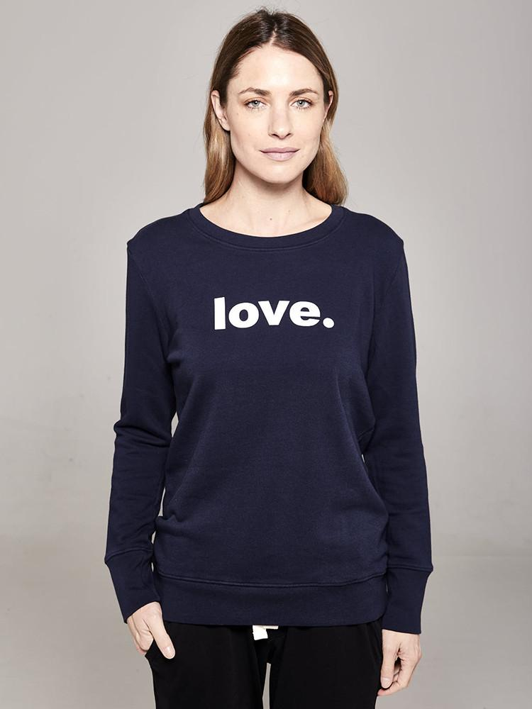Load image into Gallery viewer, Boyfriend Sweater Navy love Sweater Organic Crew