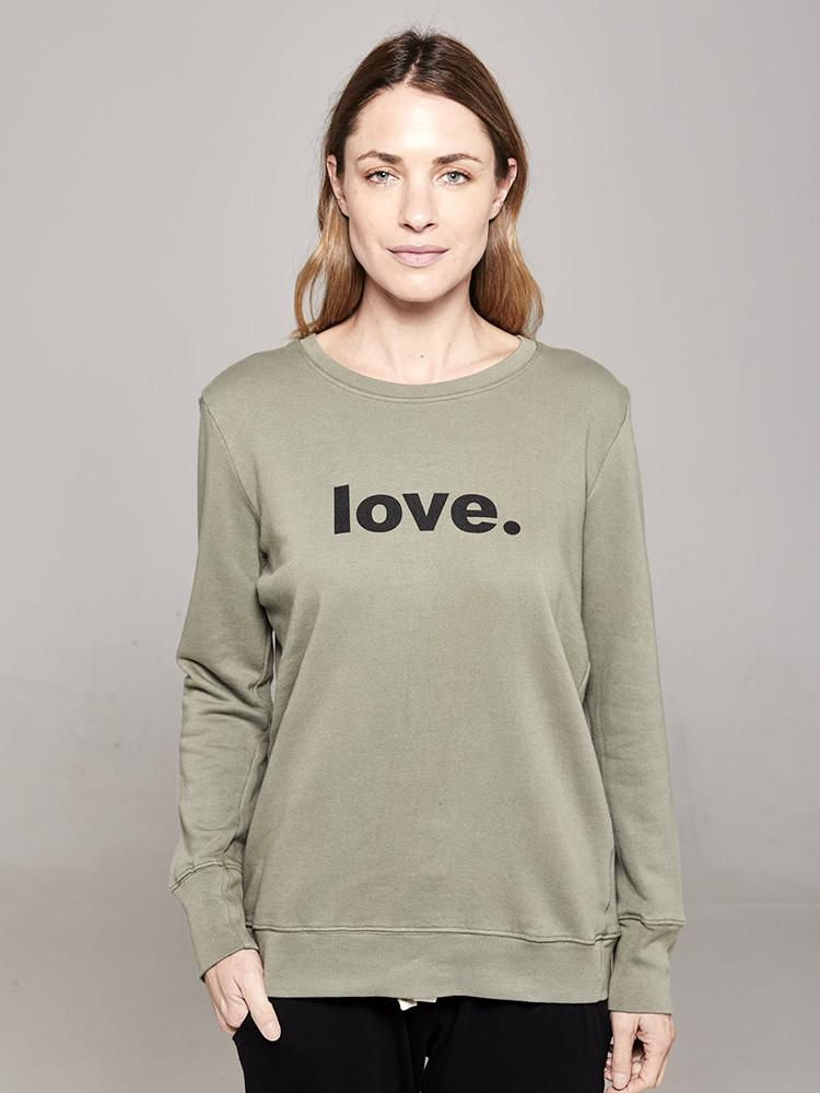 Boyfriend Sweater Khaki love Sweater Organic Crew