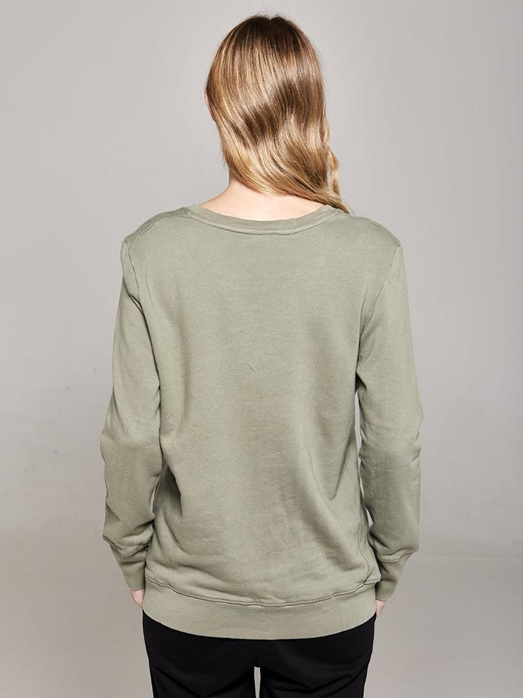 Load image into Gallery viewer, Boyfriend Sweater Khaki love Sweater Organic Crew