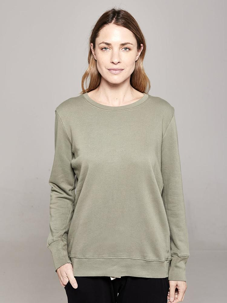 Boyfriend Sweater khaki plain Sweater Organic Crew
