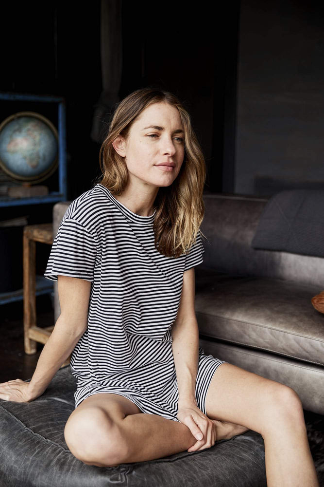 Load image into Gallery viewer, Provence Nightshirt Stripe pj's Organic Crew