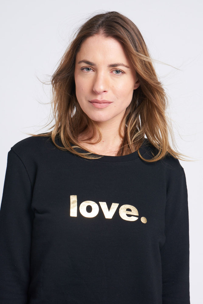 Load image into Gallery viewer, Boyfriend Sweater Black love gold Sweater Organic Crew