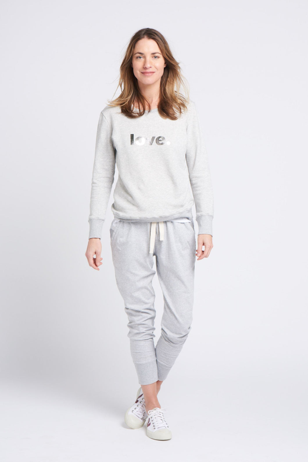 Boyfriend Sweater Grey Love Silver